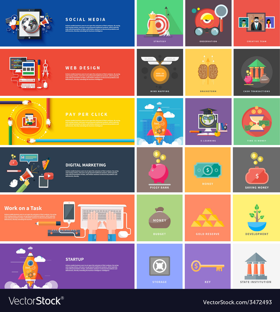 Icons for cash transactions strategy start up vector | Price: 1 Credit (USD $1)