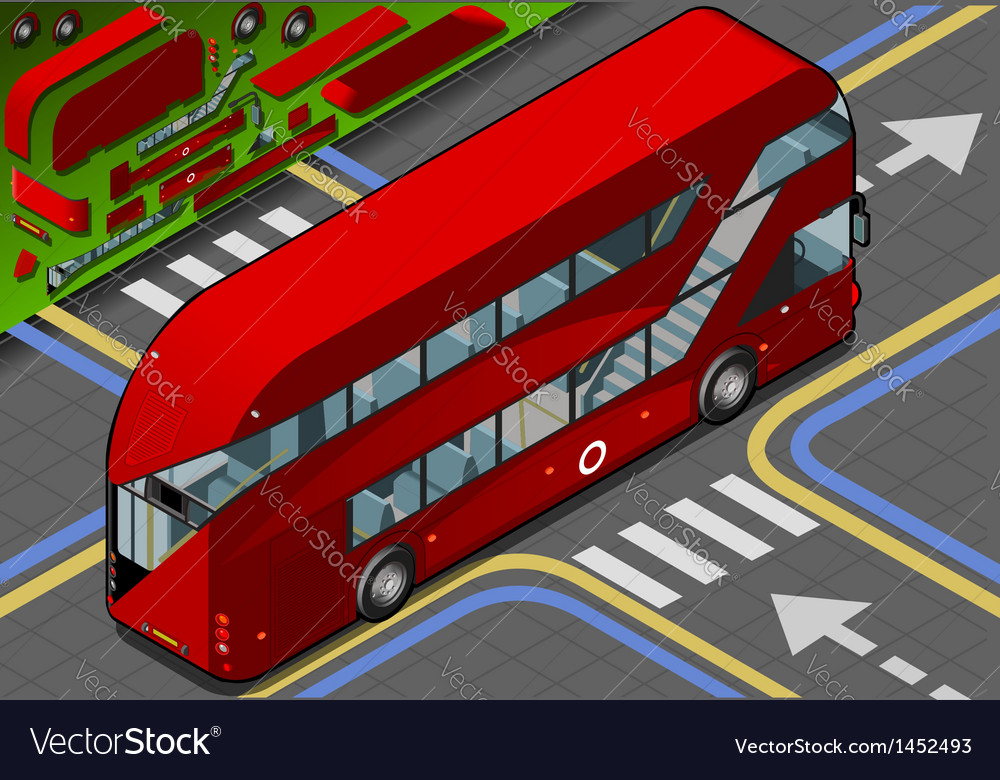 Isometric double decker bus in rear view vector | Price: 1 Credit (USD $1)
