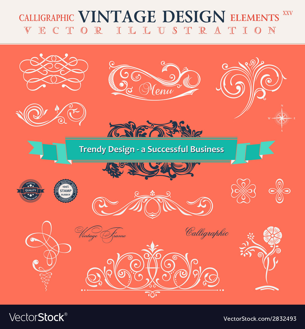 Set classic calligraphic design elements book vector | Price: 1 Credit (USD $1)