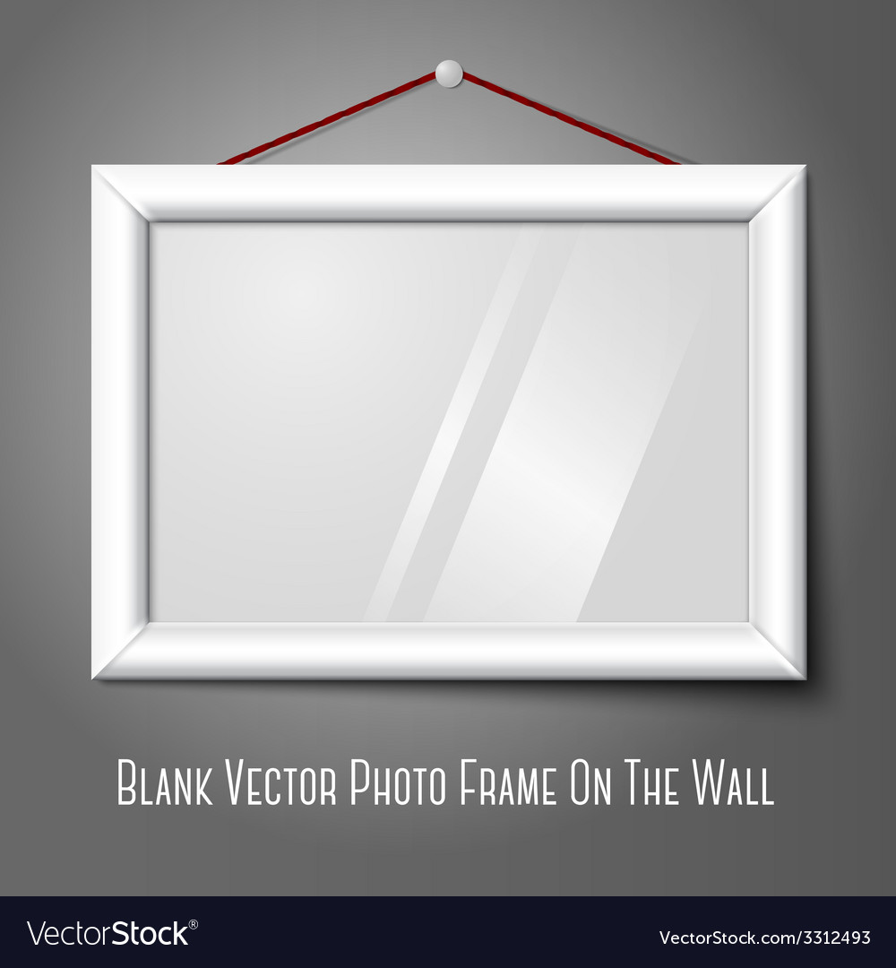 White isolated horizontal photo frame hanging on vector | Price: 1 Credit (USD $1)