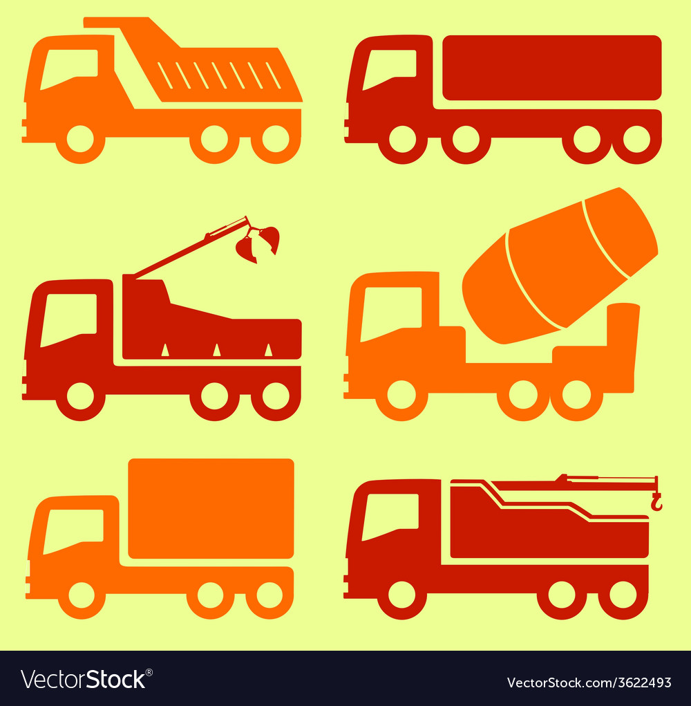 Yellow and red industrial transport set vector   Price: 1 Credit (USD $1)