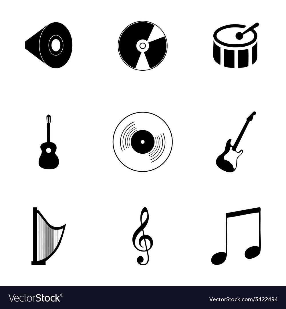 Black music icons set vector | Price: 1 Credit (USD $1)
