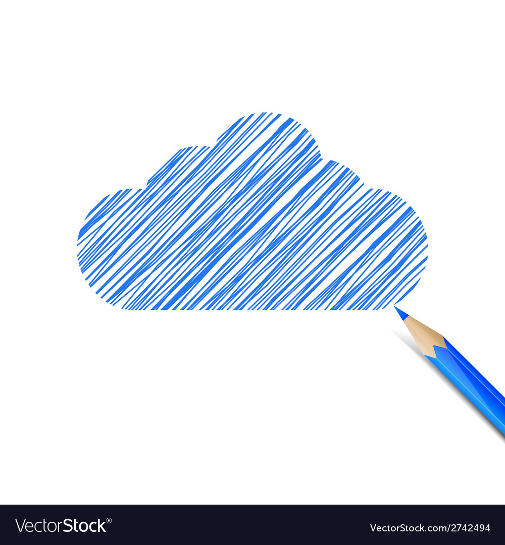 Blue cloud drawn with pencil vector | Price: 1 Credit (USD $1)