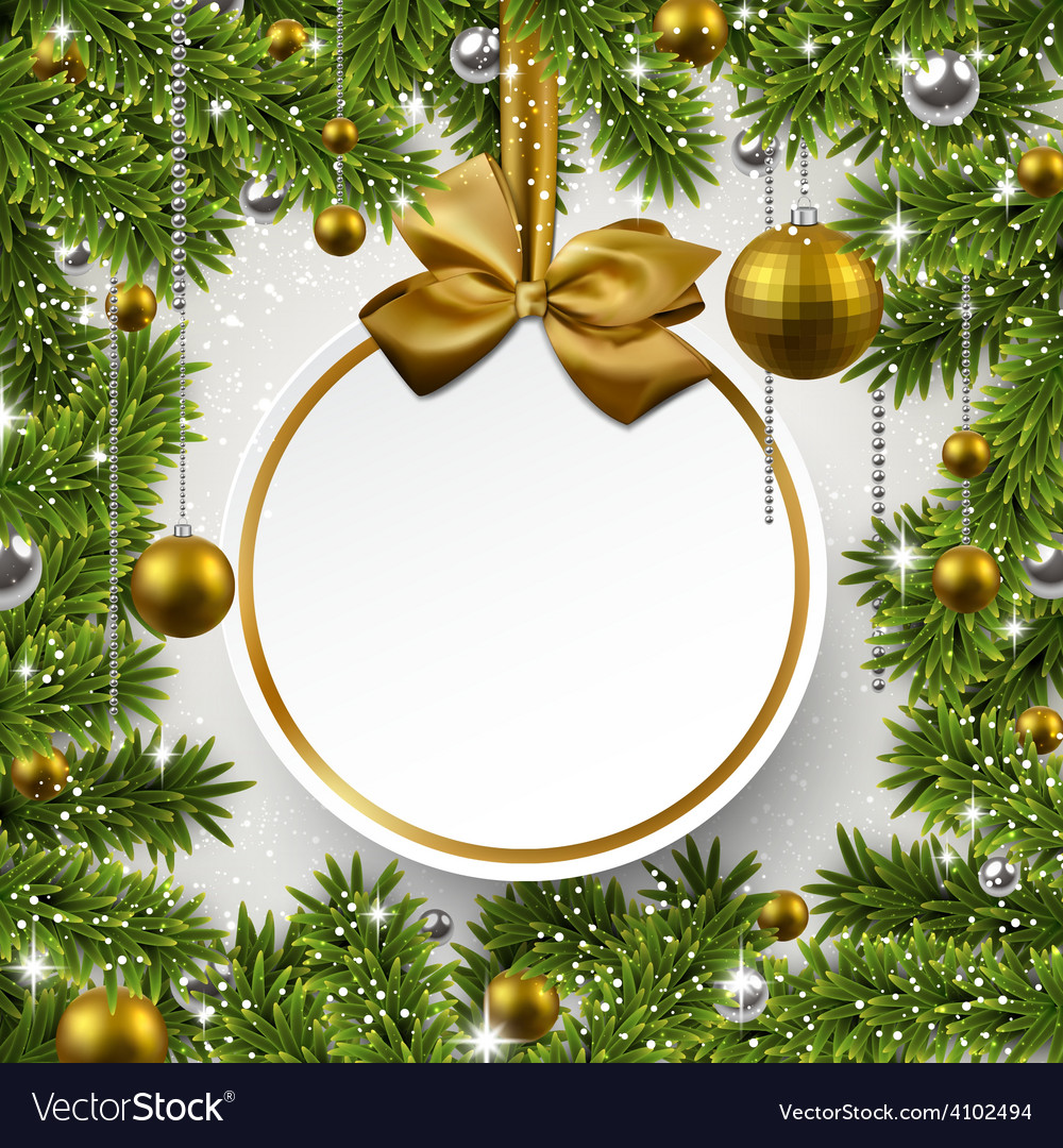 Christmas background with fir branches and balls vector   Price: 1 Credit (USD $1)
