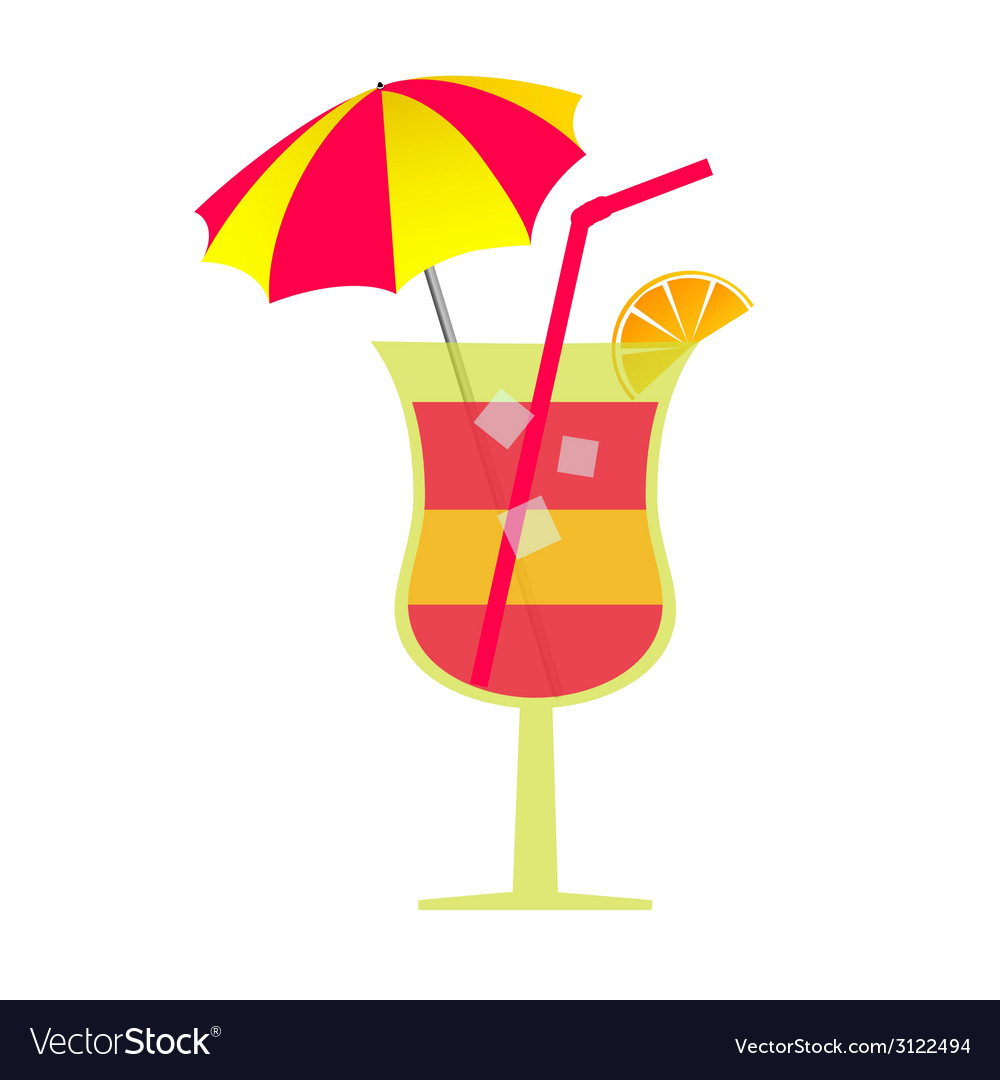 Cocktail with umbrella and ice vector | Price: 1 Credit (USD $1)