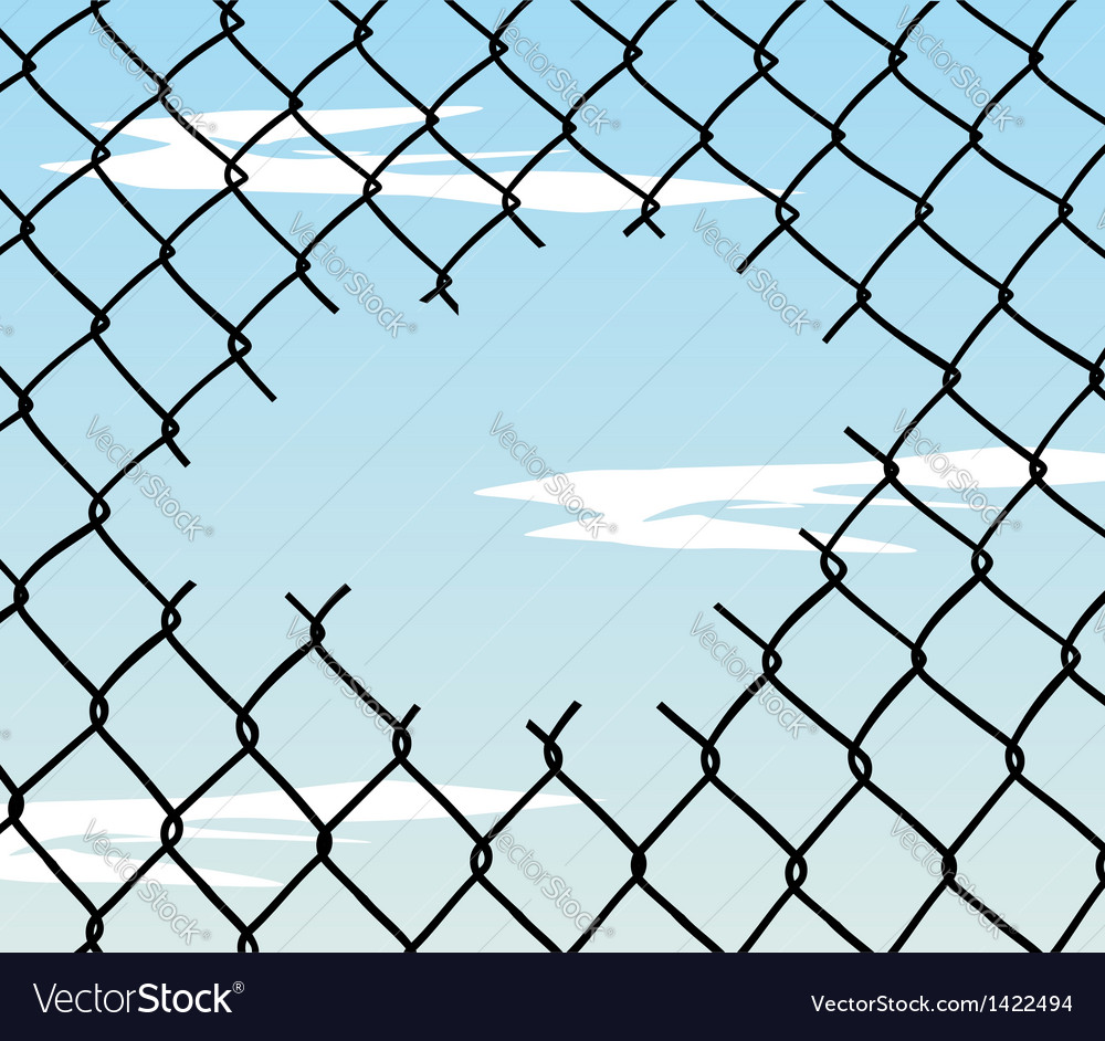 Cut wire fence with blue sky background vector | Price: 1 Credit (USD $1)