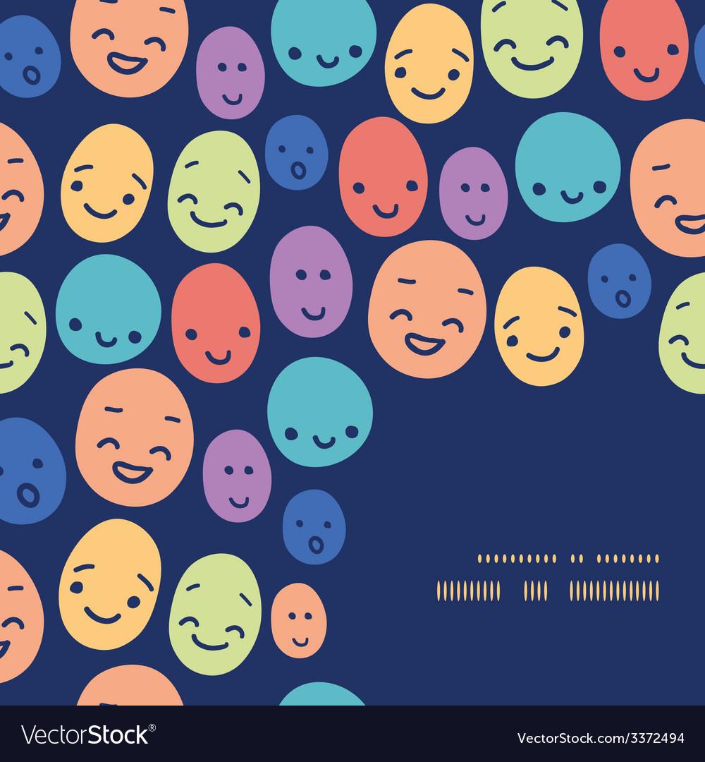 Funny faces frame corner pattern background vector | Price: 1 Credit (USD $1)