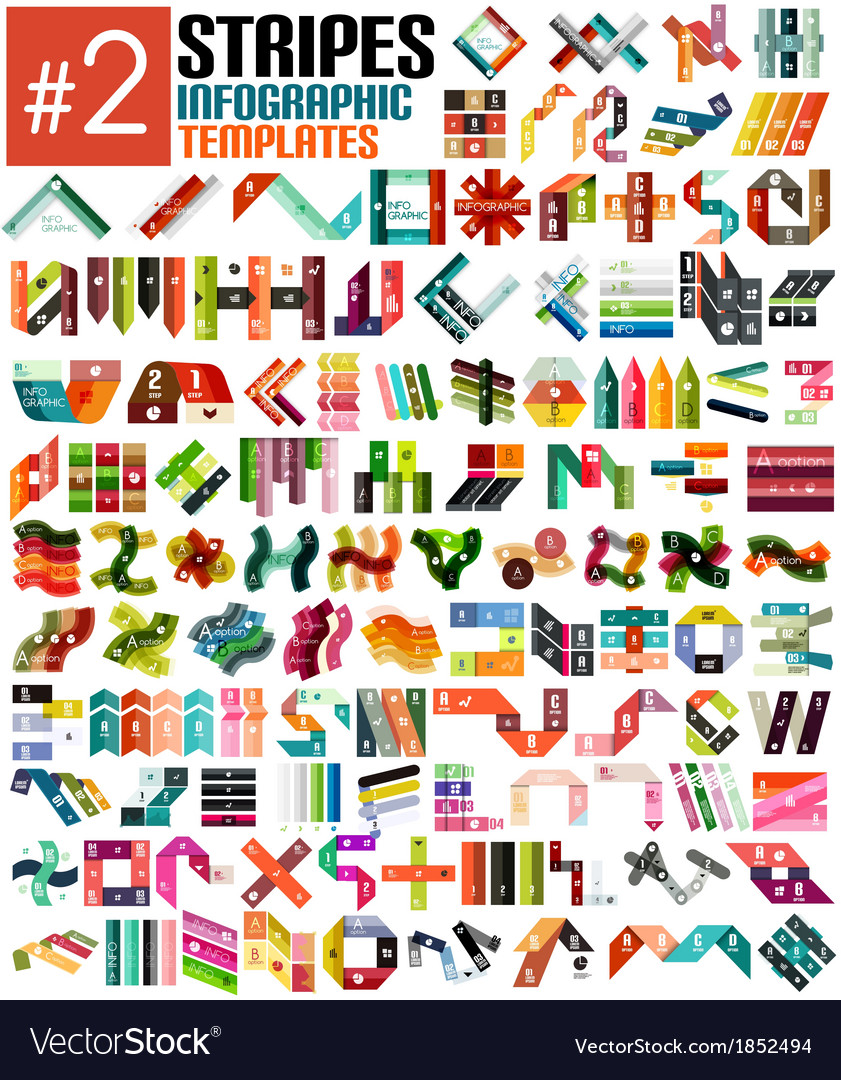 Huge set of stripe infographic templates 2 vector | Price: 1 Credit (USD $1)