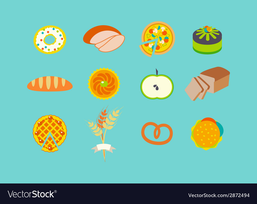 Icon set with pastries vector | Price: 1 Credit (USD $1)