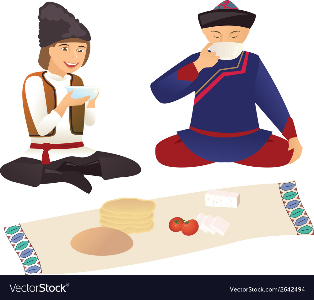 Moldovan and kazakh over lunch vector | Price: 1 Credit (USD $1)