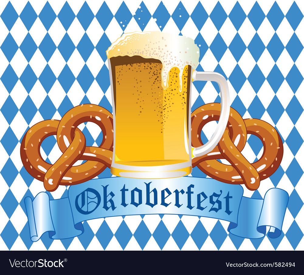 Oktoberfest celebration background with beer and p vector | Price: 1 Credit (USD $1)