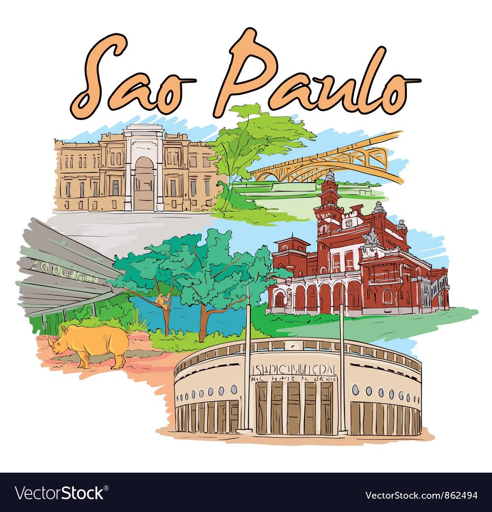 Sao paulo doodles vector | Price: 1 Credit (USD $1)