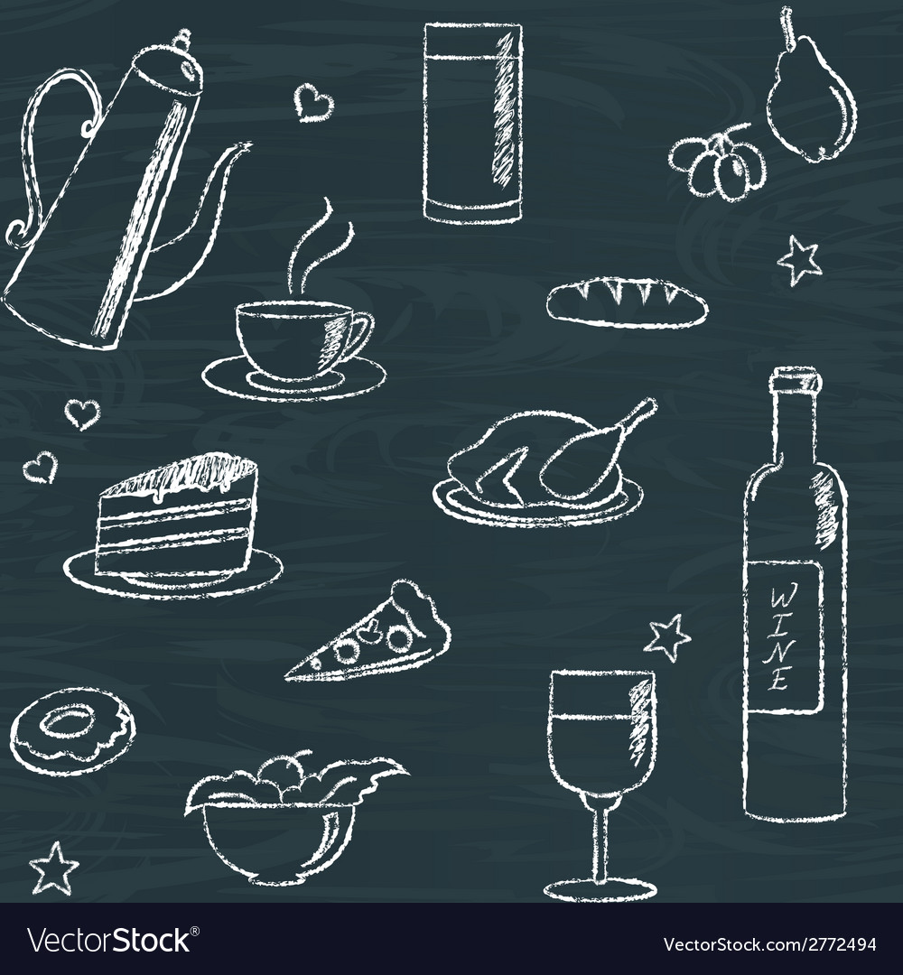 Seamless pattern with doodle food and drinks vector | Price: 1 Credit (USD $1)