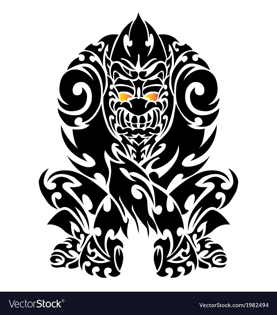 Tattoo with gorilla tribal vector | Price: 1 Credit (USD $1)
