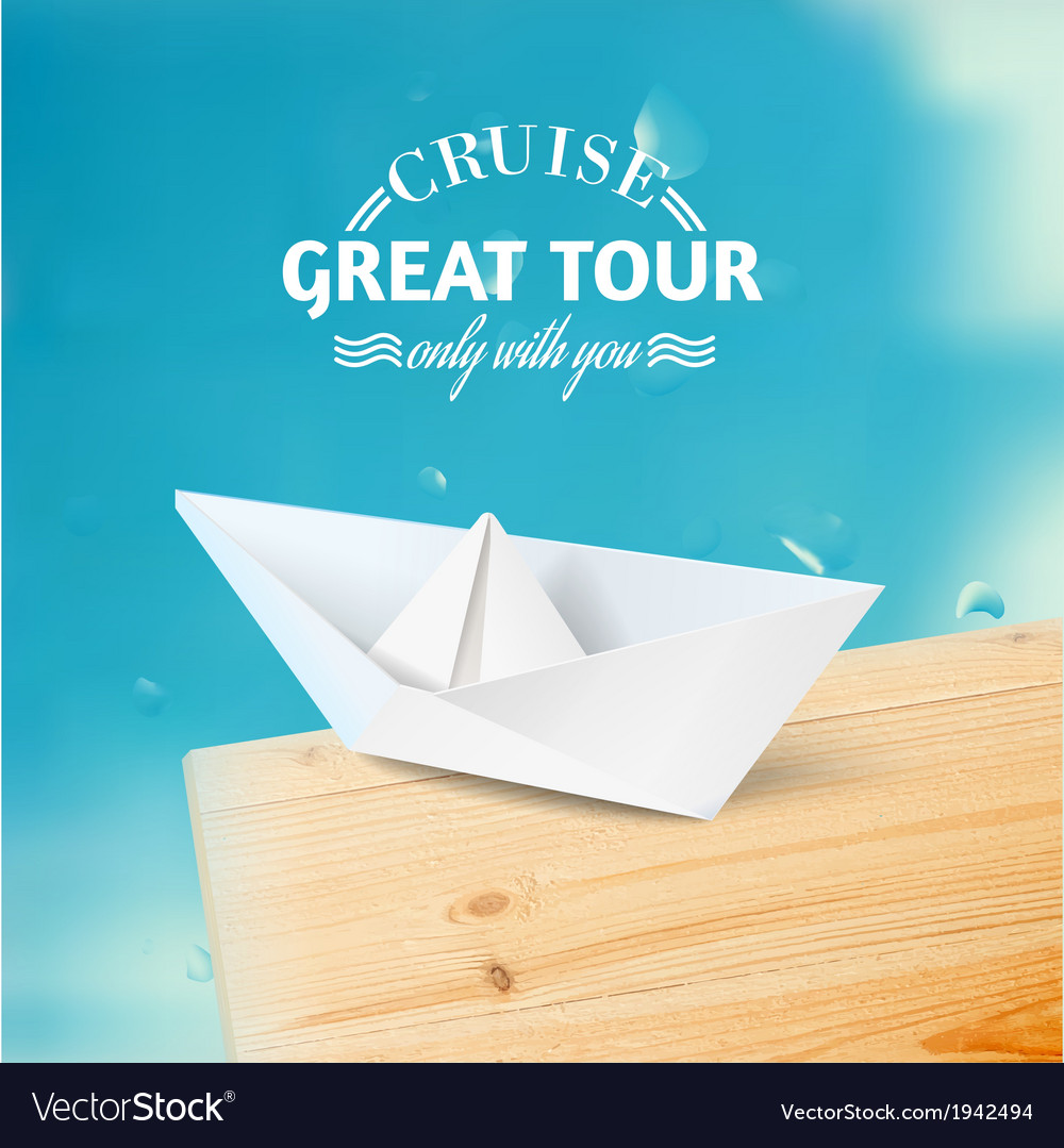 Vacation cruise with ship and text lettering vector | Price: 1 Credit (USD $1)