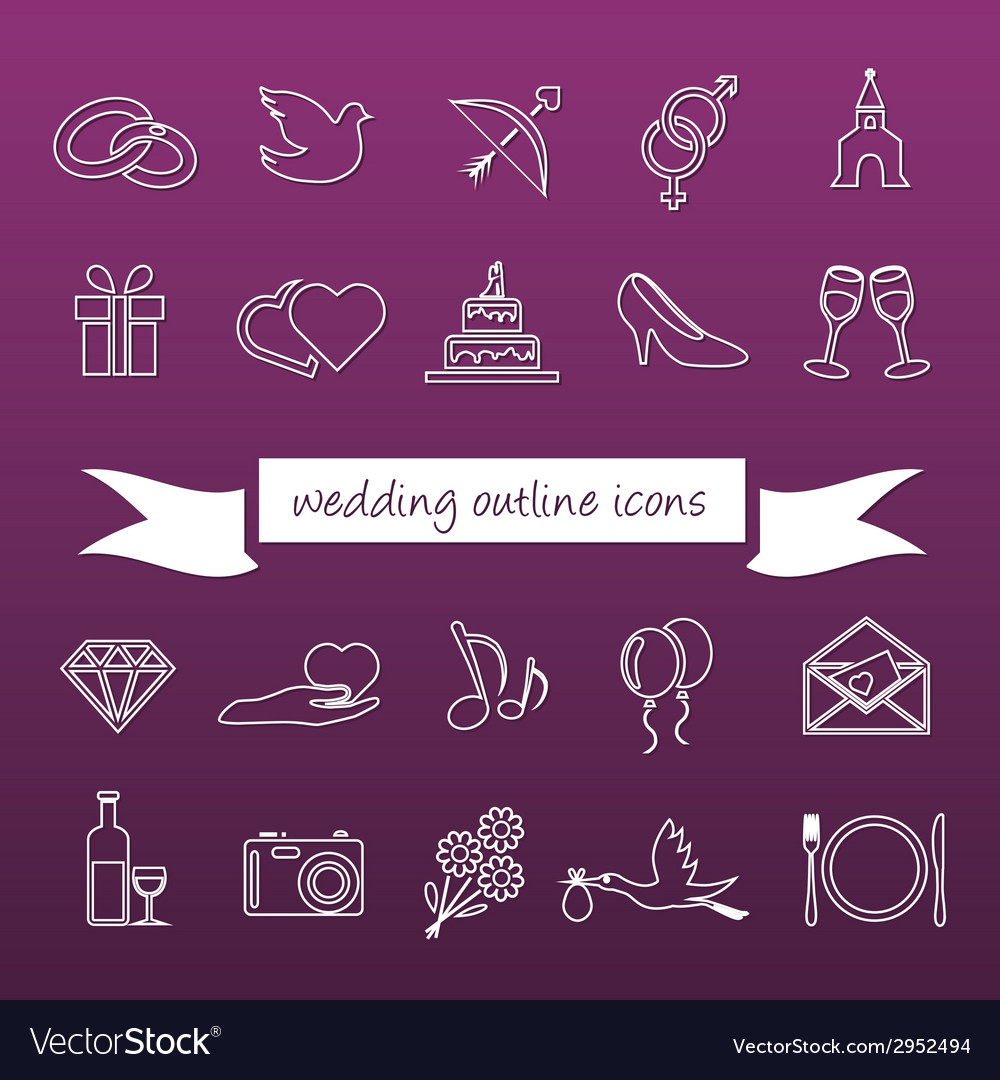 Wedding outline icons vector | Price: 1 Credit (USD $1)