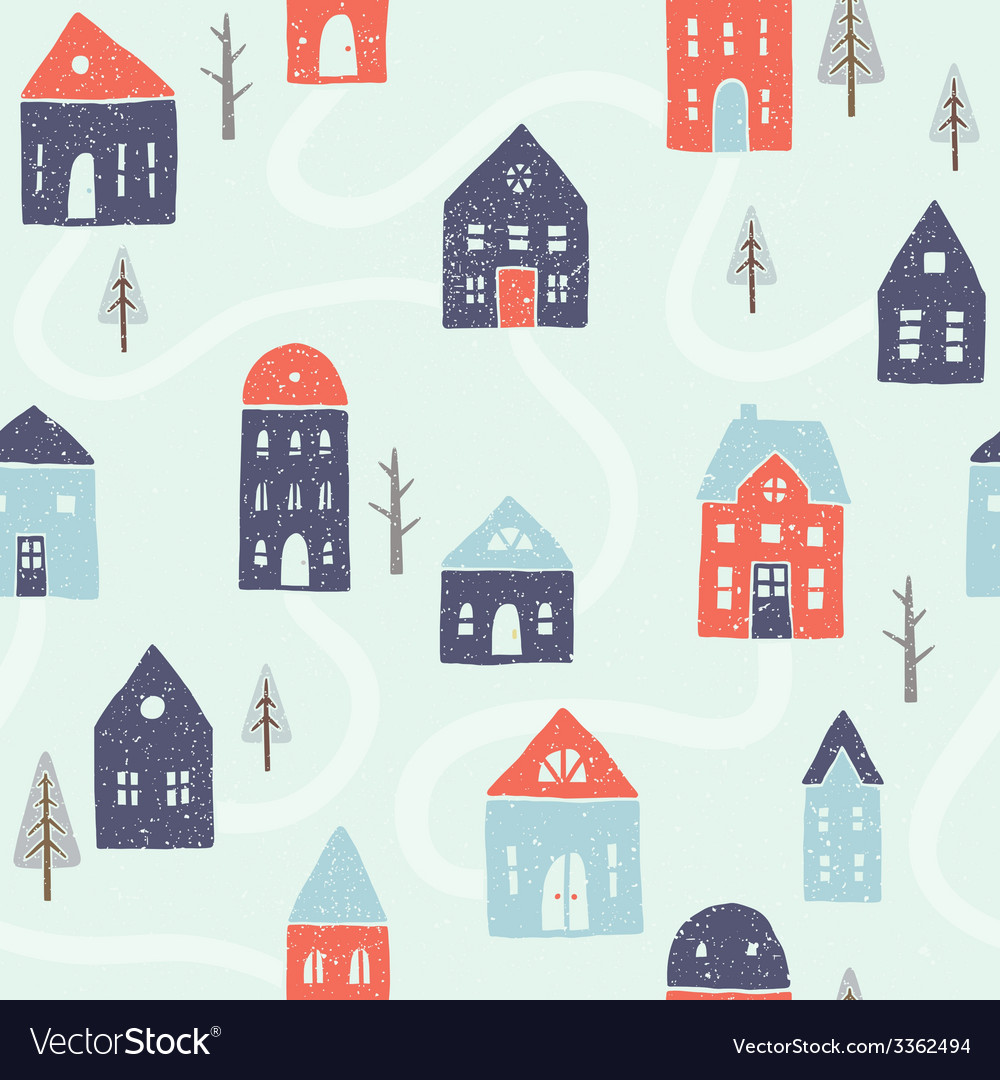 Winter houses seamless pattern vector | Price: 1 Credit (USD $1)