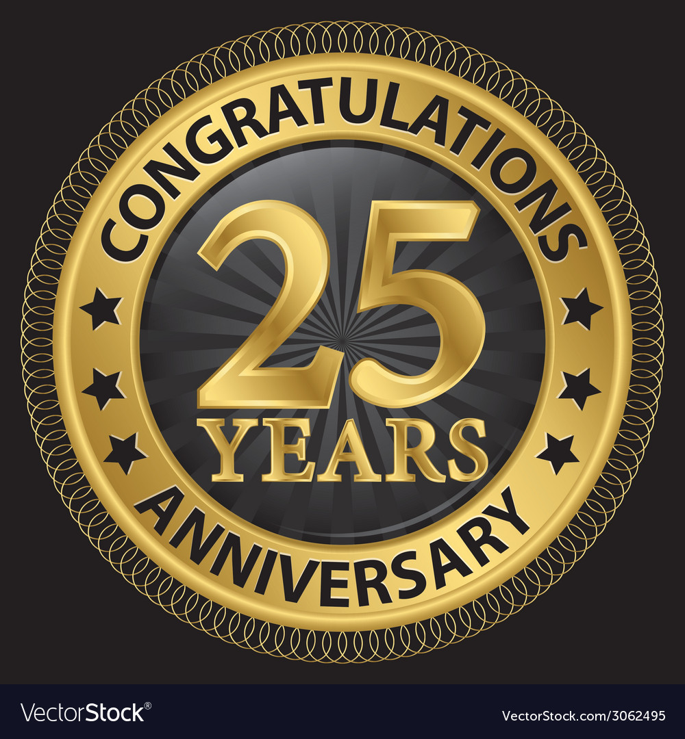 25 years anniversary congratulations gold label vector | Price: 1 Credit (USD $1)