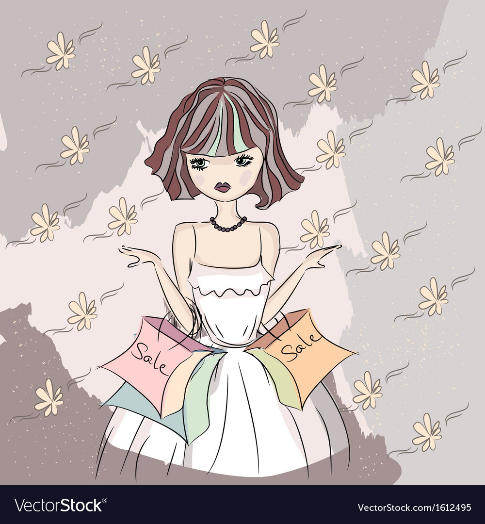 A girl doing shopping vector | Price: 1 Credit (USD $1)
