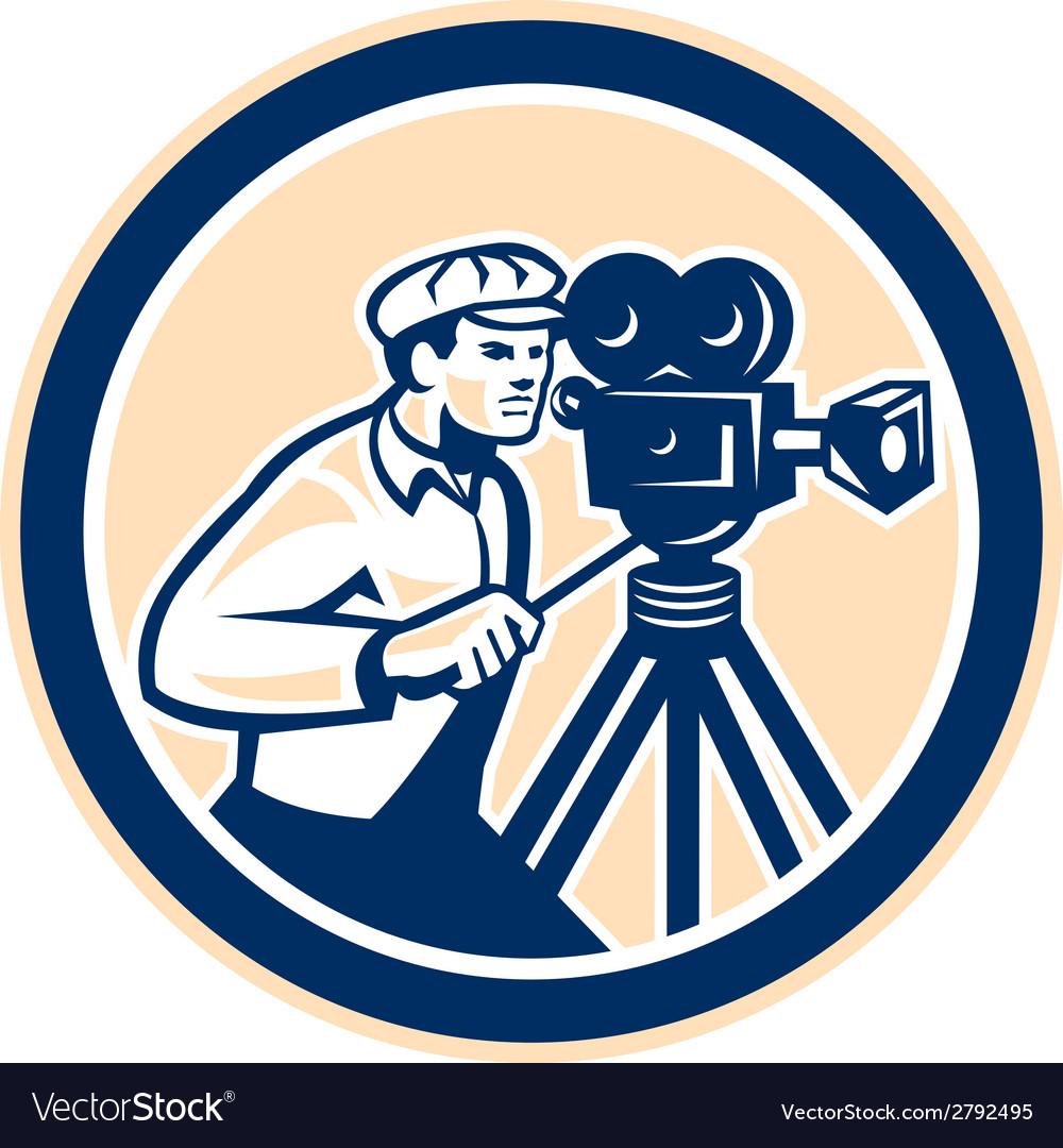 Cameraman vintage film camera circle retro vector | Price: 1 Credit (USD $1)