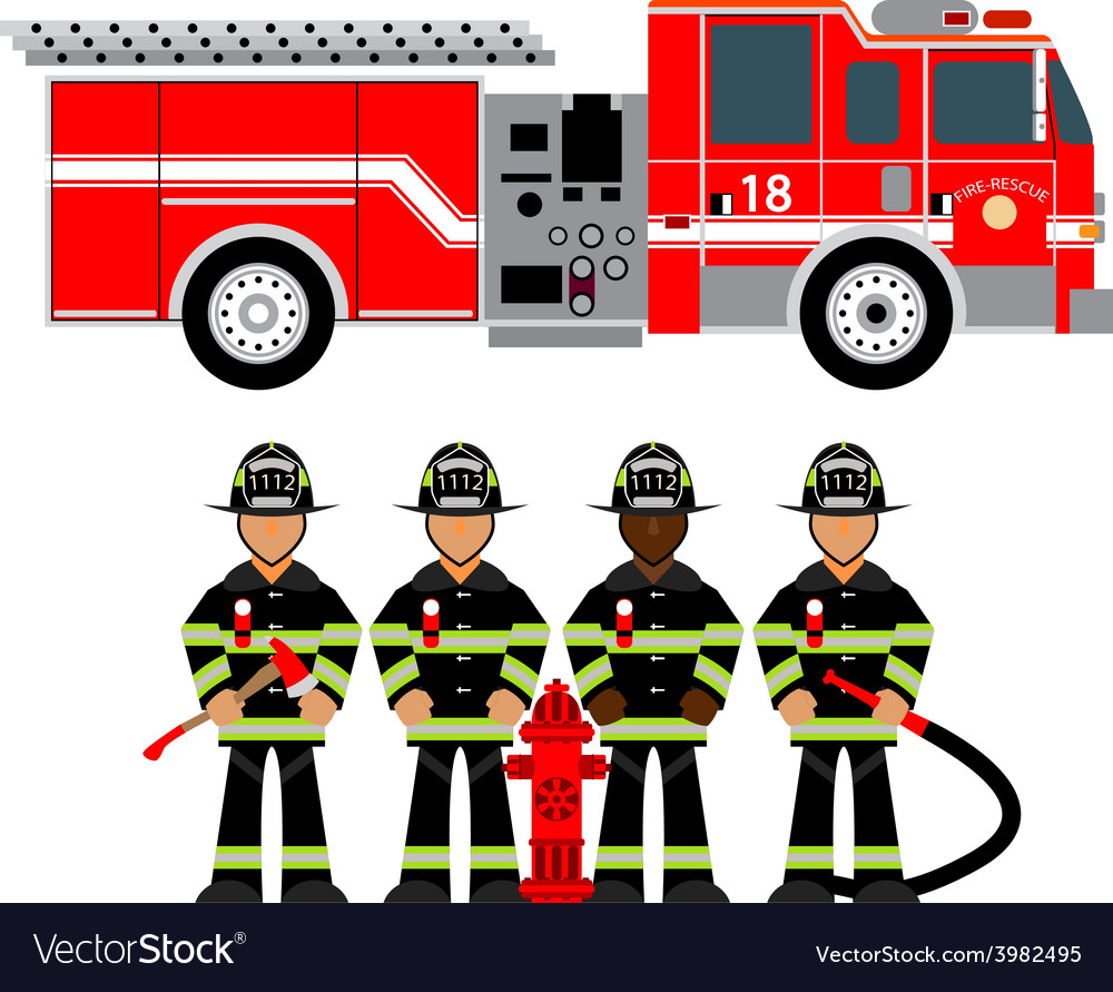 Firetruck and fireman vector | Price: 1 Credit (USD $1)
