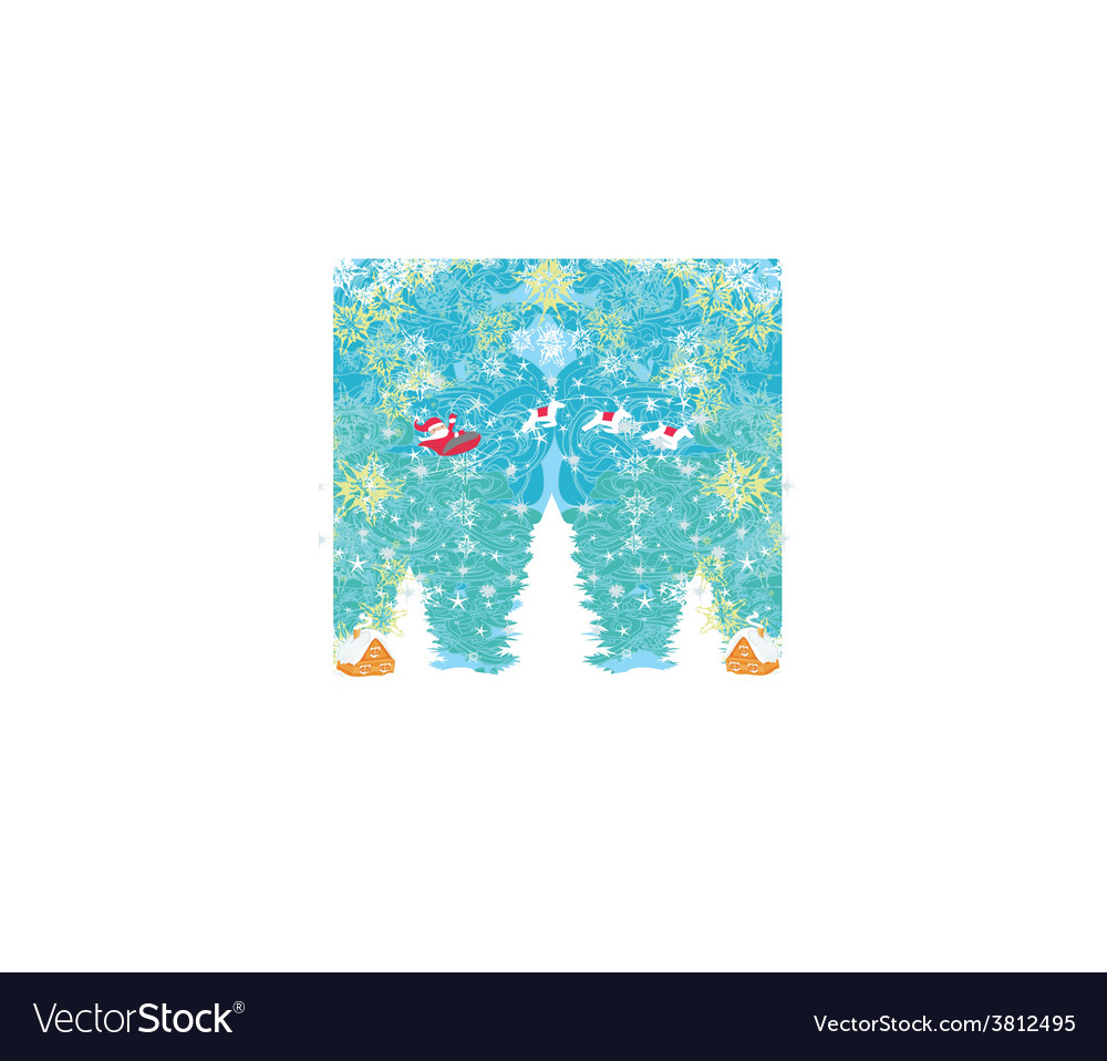 Happy new year card with santa and winter vector | Price: 1 Credit (USD $1)