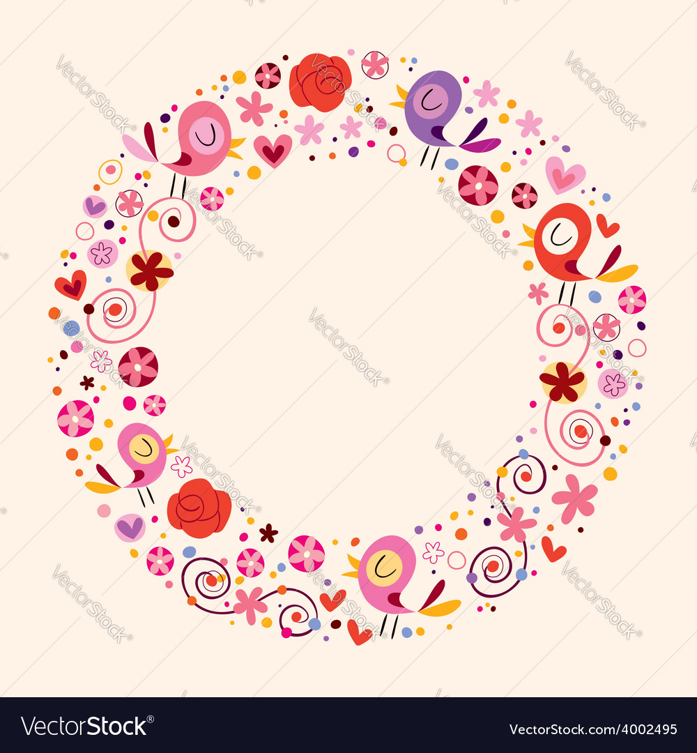 Love birds and flowers nature circle frame border vector | Price: 1 Credit (USD $1)