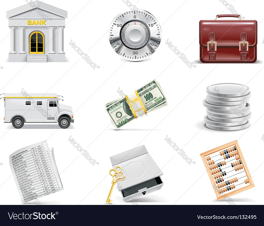 Online banking icon set vector | Price: 3 Credit (USD $3)