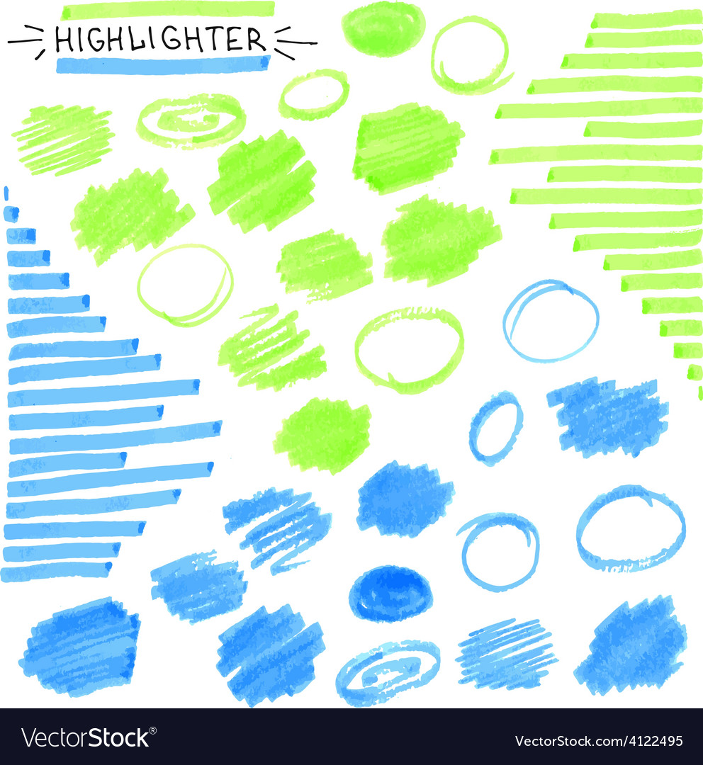 Set of blue and green fluorescent highlighter vector   Price: 1 Credit (USD $1)