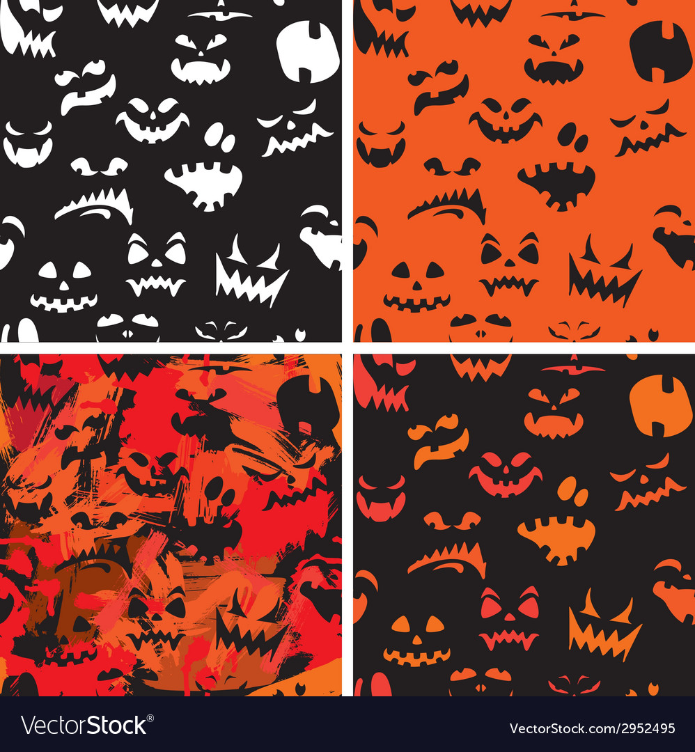 Set of halloween seamless patterns with pumpkins f vector | Price: 1 Credit (USD $1)