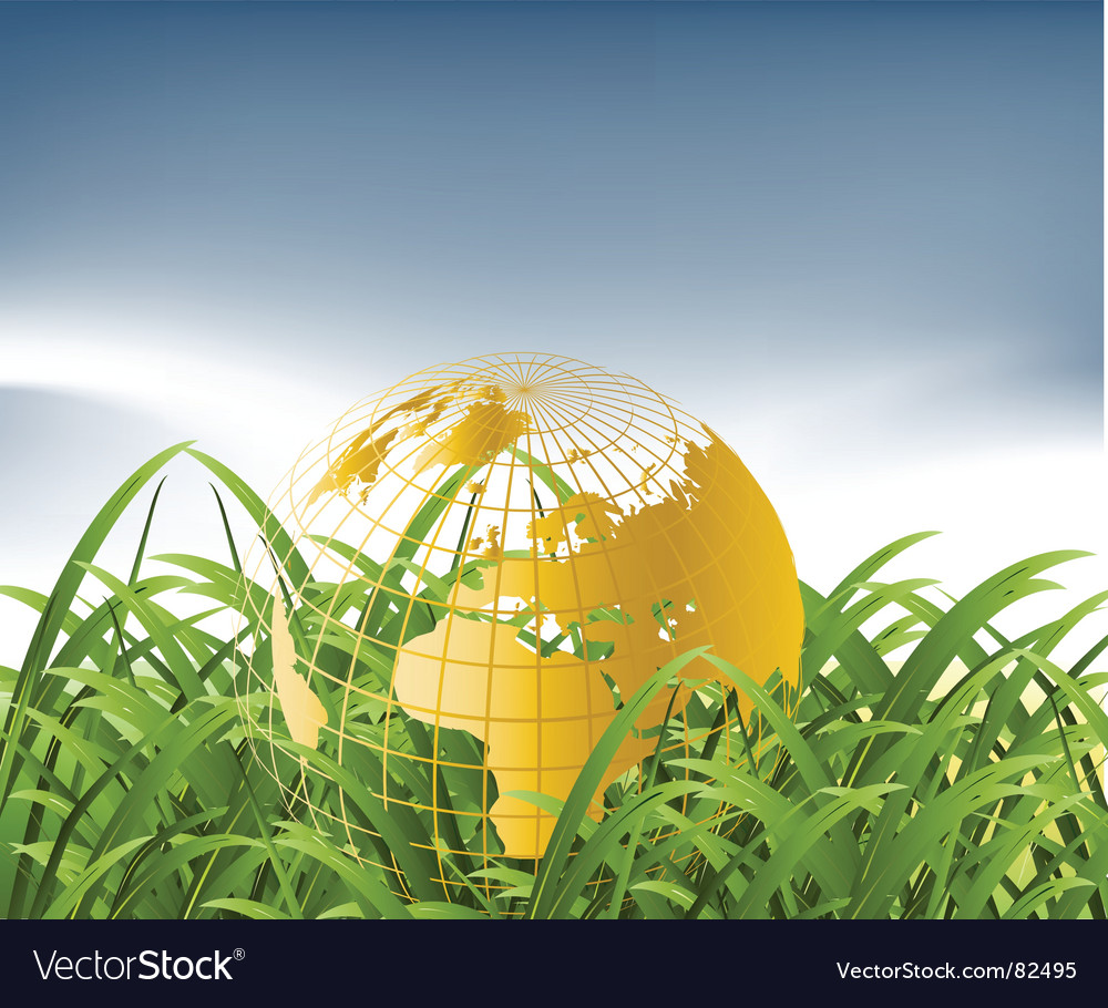 World map in grass vector | Price: 1 Credit (USD $1)