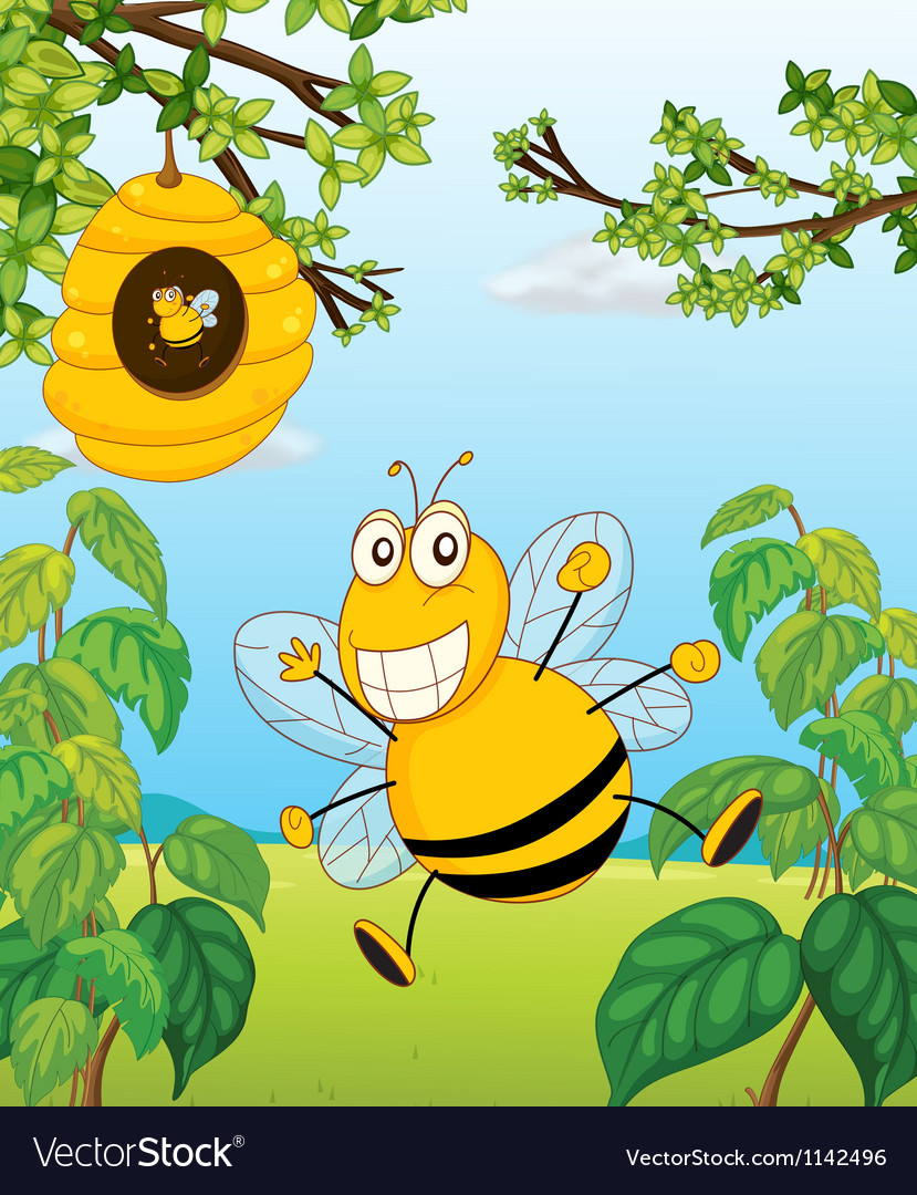 A bee and a beehive vector | Price: 1 Credit (USD $1)
