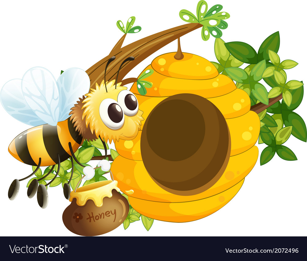 A bee near the beehive vector | Price: 1 Credit (USD $1)