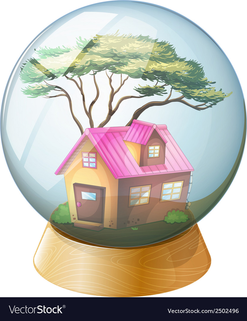 A crystal ball with a pink house inside vector | Price: 1 Credit (USD $1)
