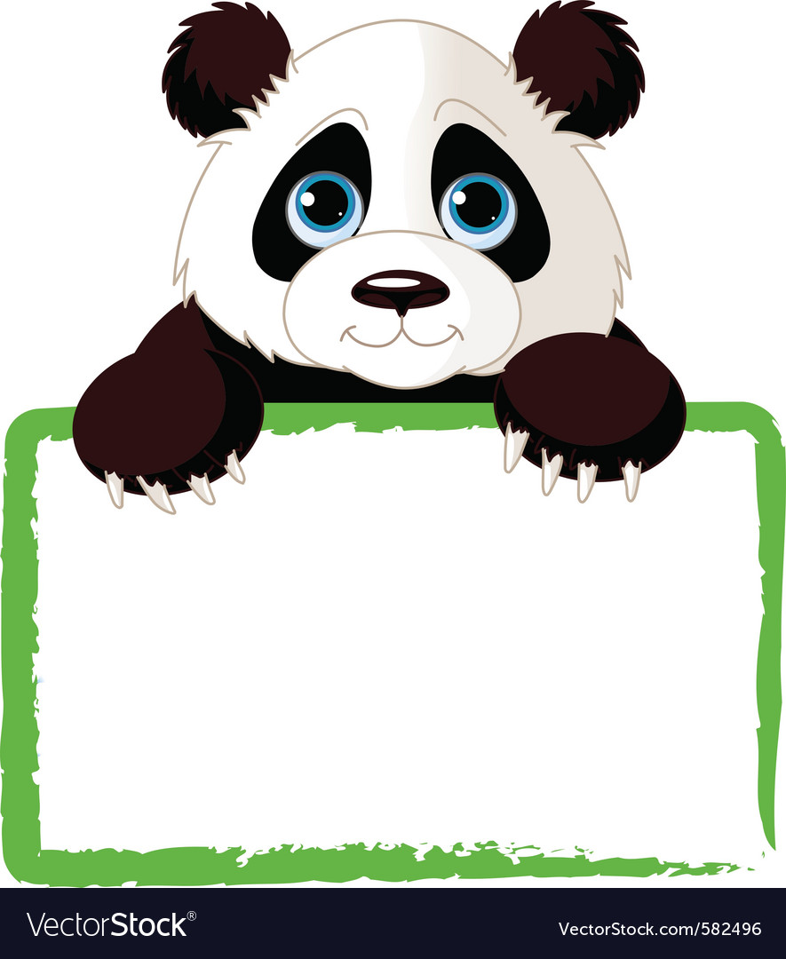 Adorable panda looking over a blank sign vector | Price: 1 Credit (USD $1)