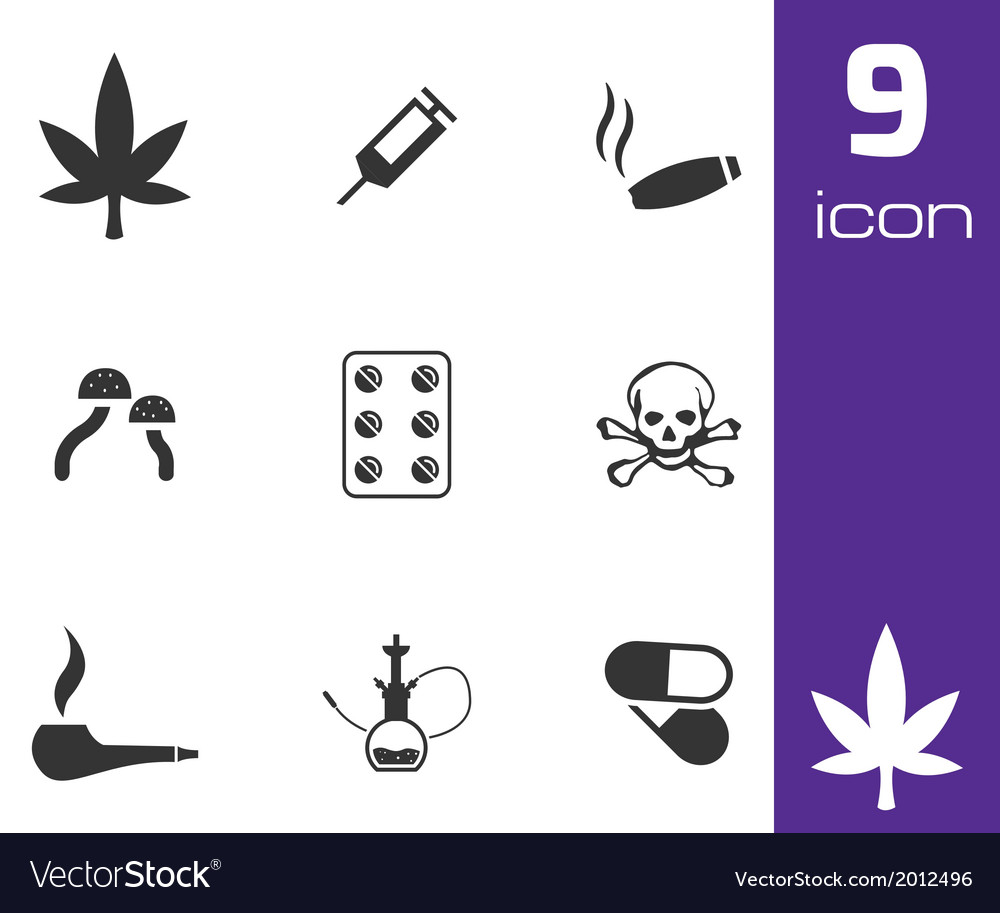 Black drugs icons set vector | Price: 1 Credit (USD $1)