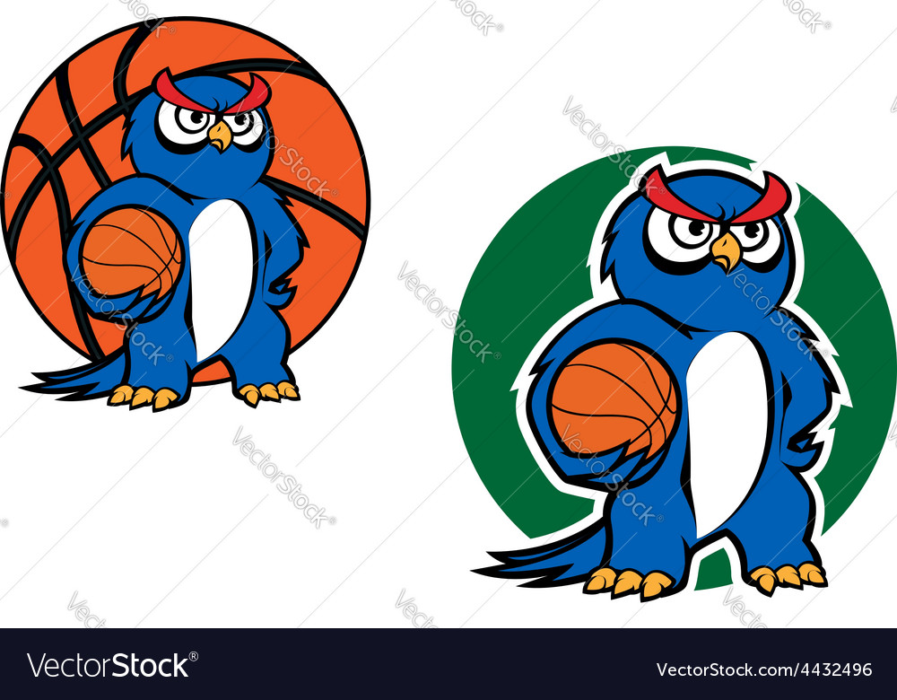 Cartoon blue owl character with basketball ball vector | Price: 1 Credit (USD $1)