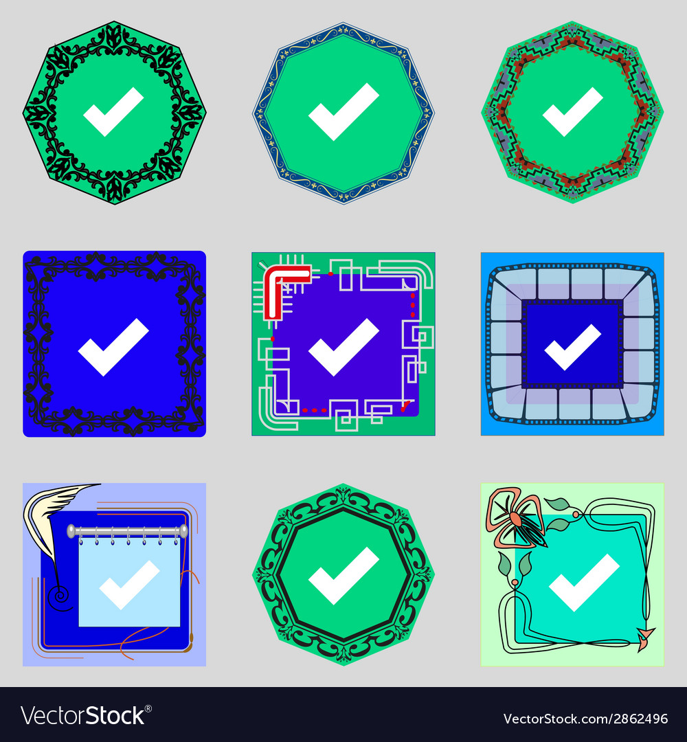 Check mark sign icon checkbox button set colourful vector | Price: 1 Credit (USD $1)