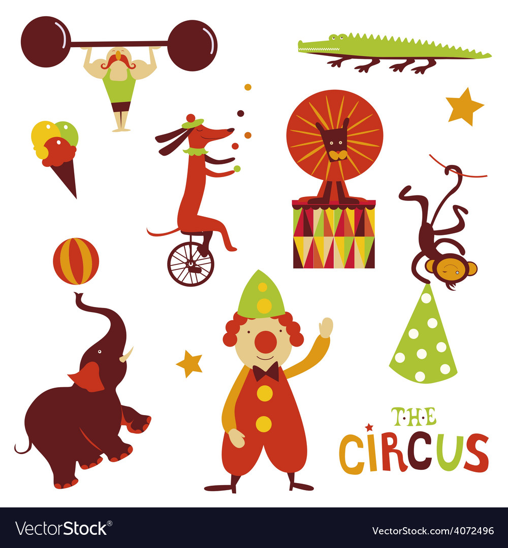 Circus artists cartoon characters vector | Price: 1 Credit (USD $1)