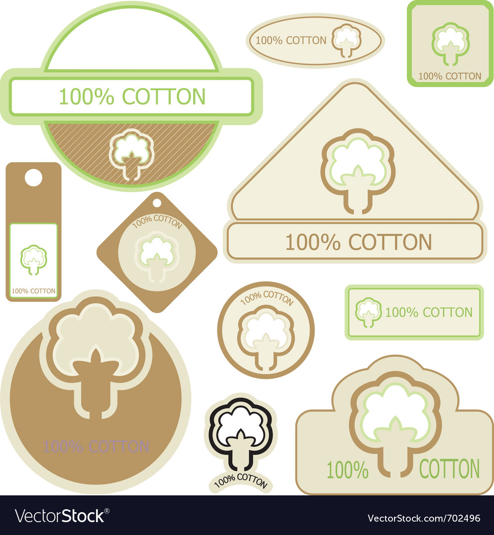 Cotton labels vector | Price: 1 Credit (USD $1)