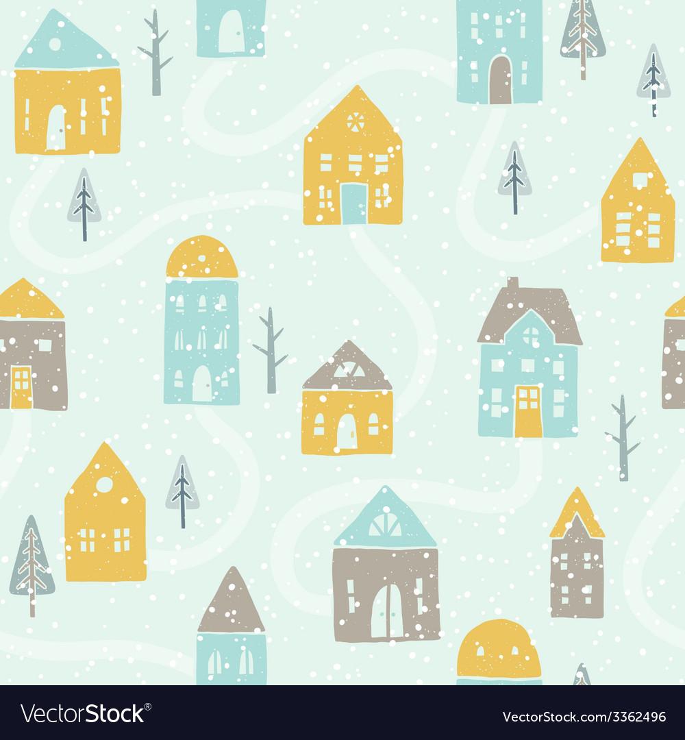 Cute winter snowfall houses pattern vector | Price: 1 Credit (USD $1)