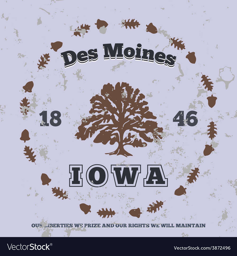 Des moines iowa grunge on separate layer vector | Price: 1 Credit (USD $1)