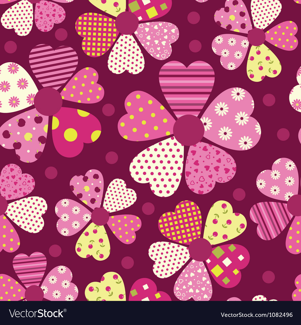 Heart flower pattern vector | Price: 1 Credit (USD $1)