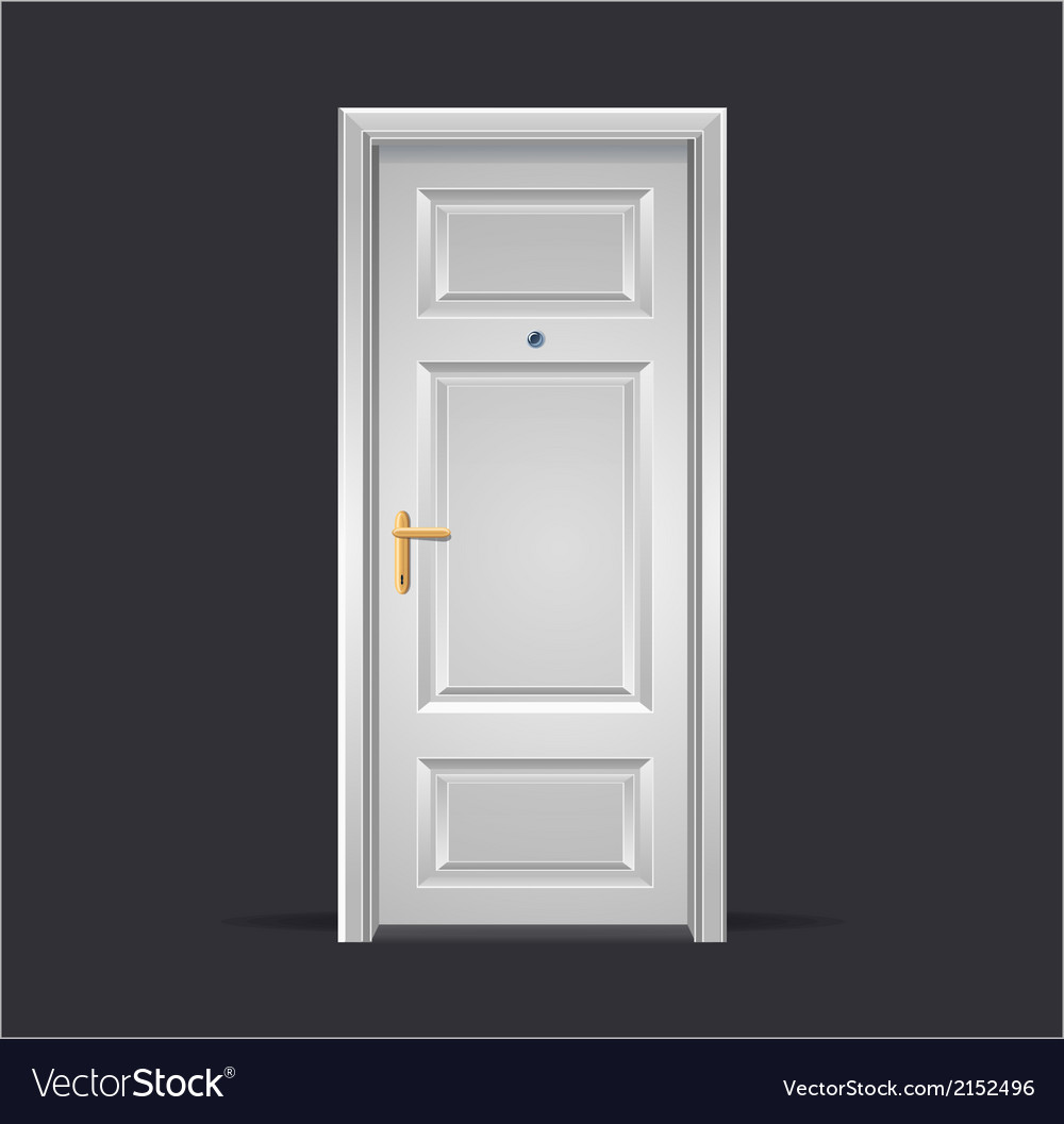 Interior apartment white door isolated on black vector | Price: 1 Credit (USD $1)