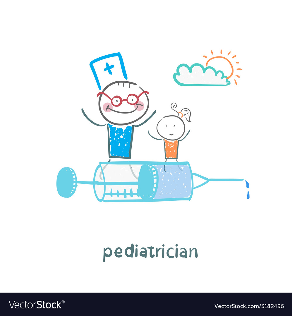 Pediatrician is flying on a syringe with a sick vector | Price: 1 Credit (USD $1)