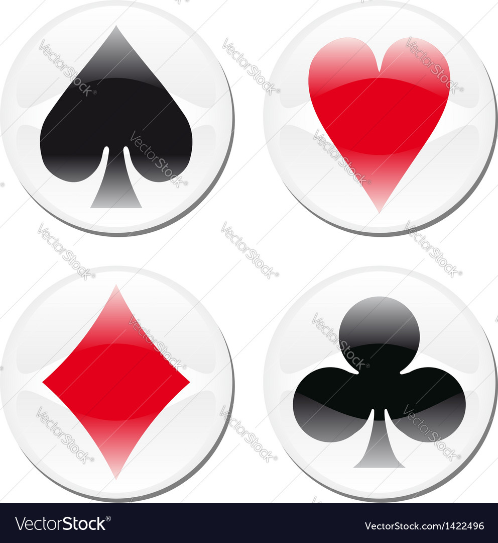 Poker card icons on white vector | Price: 1 Credit (USD $1)