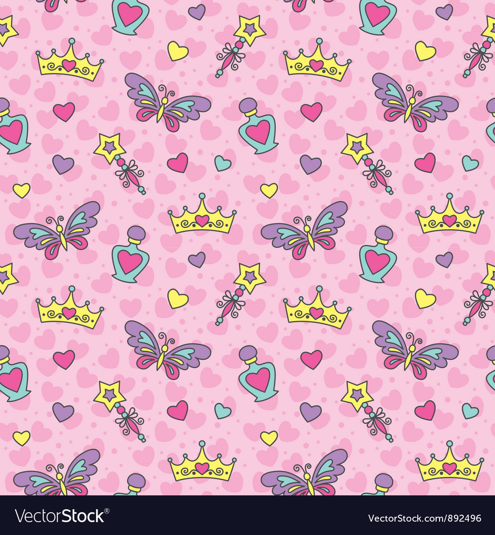 Princess seamless pattern vector | Price: 1 Credit (USD $1)