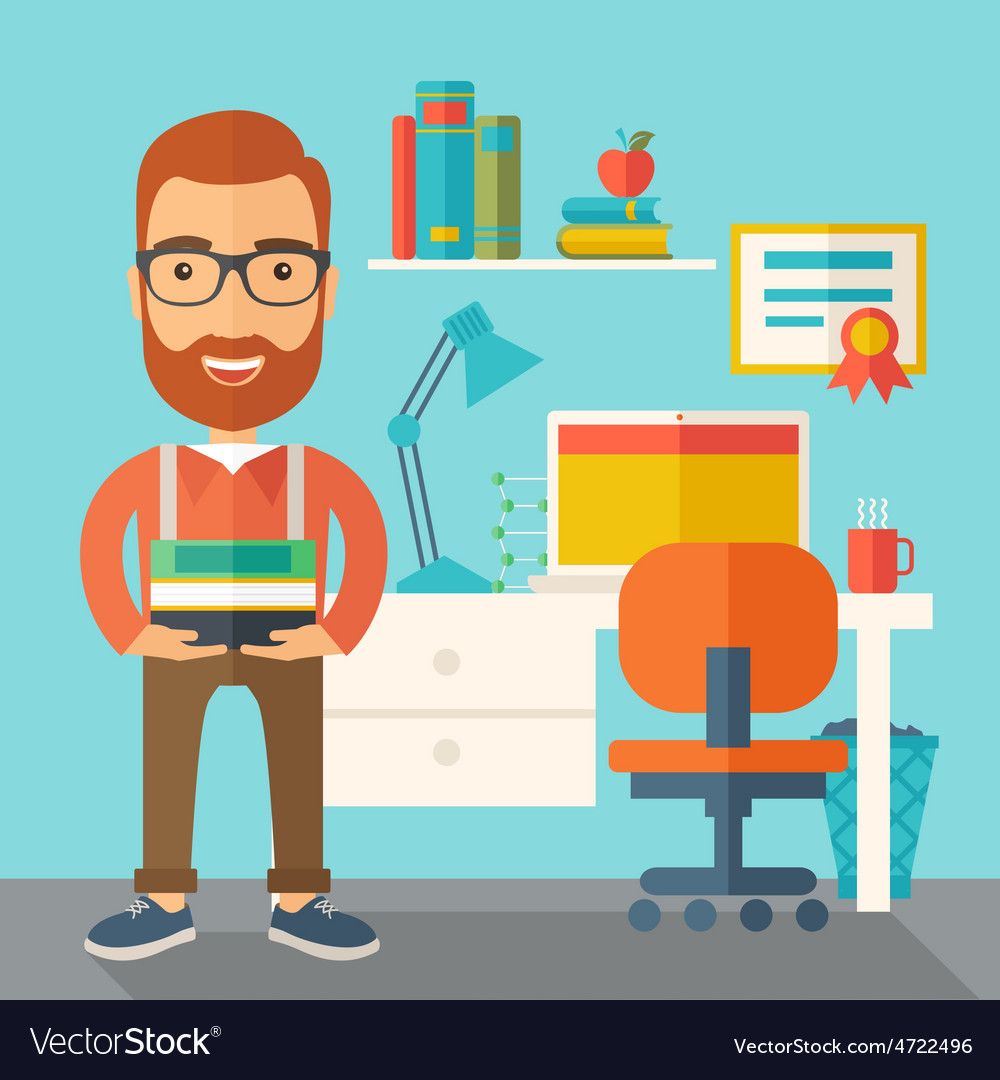Student or lecturer carrying a stack of books vector | Price: 1 Credit (USD $1)