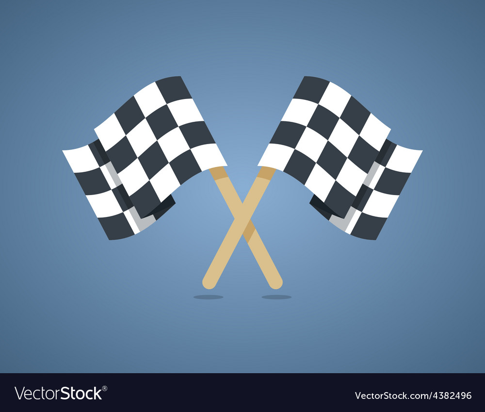 Two crossed checkered racing flags in flat style vector | Price: 1 Credit (USD $1)