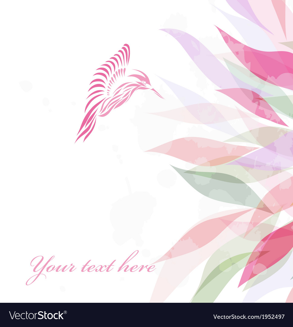Beautiful pink hummingbird background vector | Price: 1 Credit (USD $1)